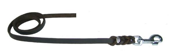 Hundeleine aus Fettleder / Fettlederleine, geflochten, ohne Handschlaufe, Chrom-Karabiner