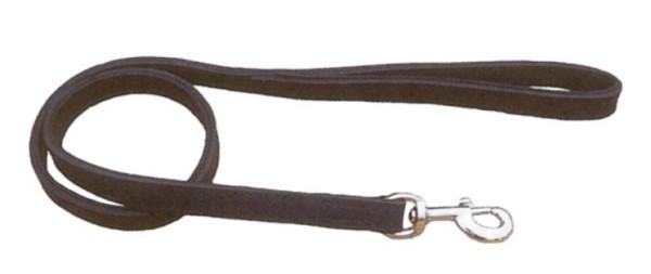 Hundeleine aus Leder / Lederleine für Hunde mit Handschlaufe, gefüttert, schwarz
