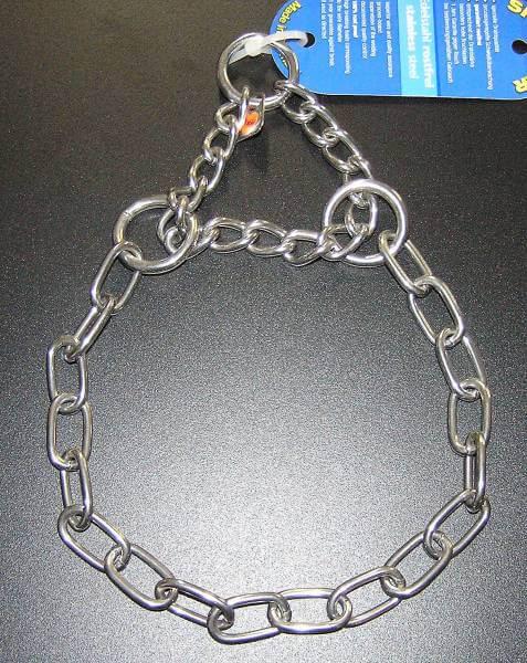 Gliederhalsband mit Zugkette, Typ Medium, Edelstahl rostfrei, 3mm