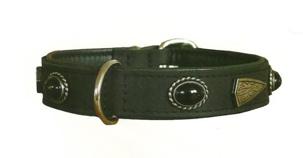 Hundehalsband aus Leder / Schmuckhalsband 'Black Stone' mit Softleder gefüttert