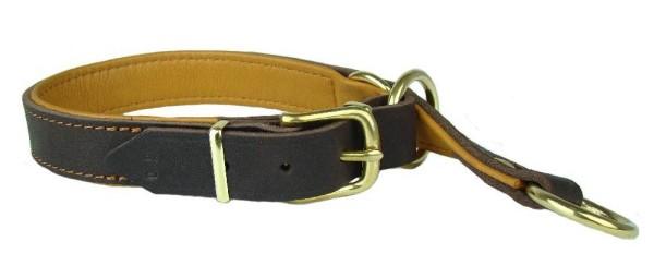 Zugstopp-Halsband mit Softleder gefüttert / Lederhalsband mit Zugbegrenzung, braun