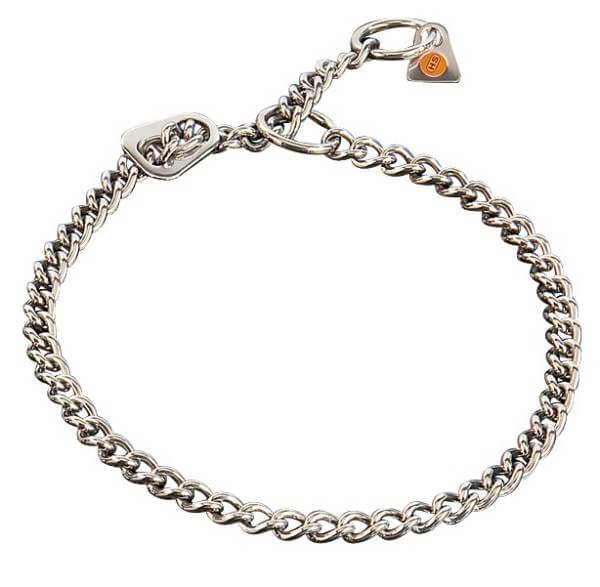 Zugstopp-Halsband / Gliederhalsband mit Zugbegrenzung, rundgliedrig, Edelstahl rostfrei, 2,5mm