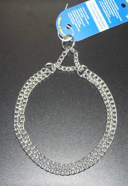 2-reihiges Gliederhalsband mit Zugkette, Stahl verchromt