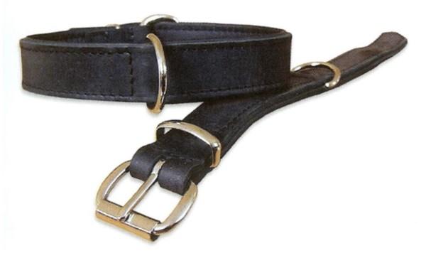Lederhalsband mit Softleder gefüttert, schwarz / Hundehalsband aus Leder