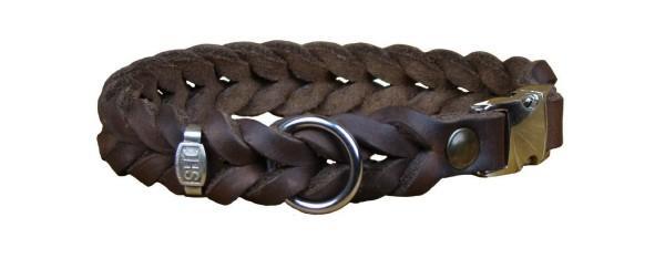 Fettlederhalsband, geflochten, mit Klickverschluss / Hundehalsband aus Fettleder