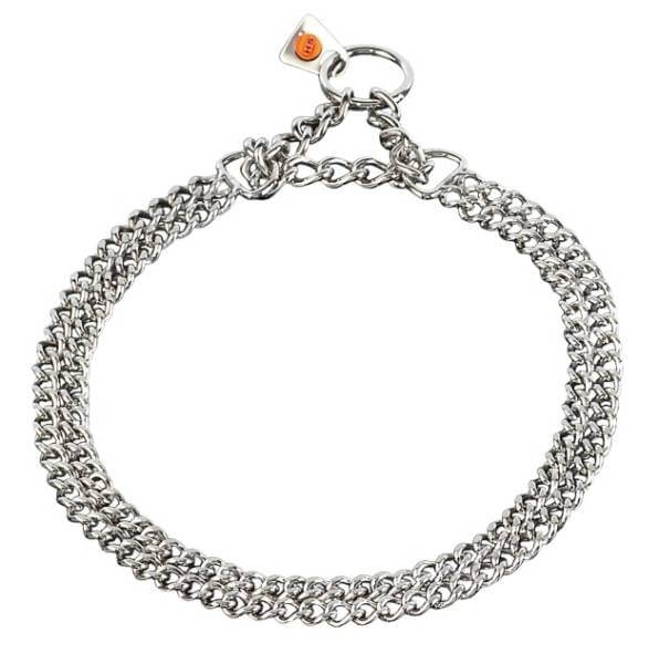 Zugstopp-Halsband / 2-reihiges Gliederhalsband mit Zugkette, Edelstahl rostfrei / HS Sprenger