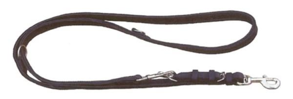 Verstellbare Führleine aus Leder, gefüttert, schwarz / Lederleine für Hunde