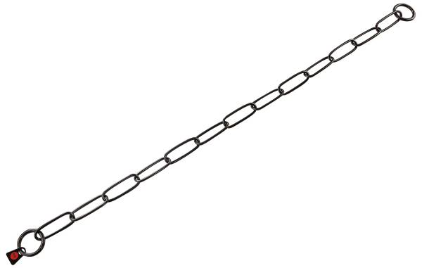 Gliederhalsband, langgliedrig, Edelstahl schwarz rostfrei, 3mm