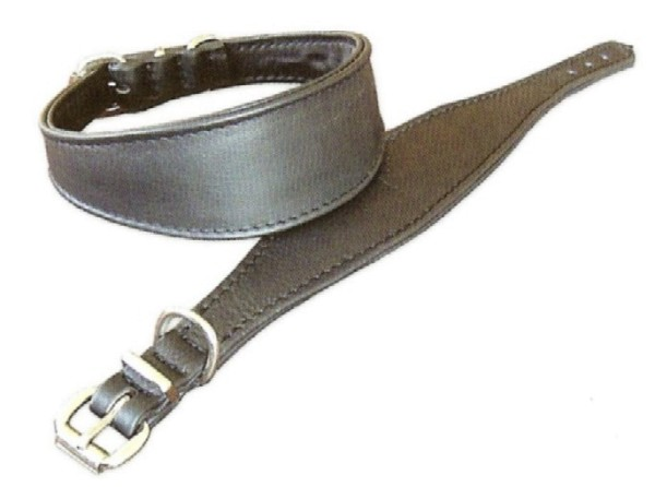 Windhundhalsband aus weichem Nappaleder, schwarz / Lederhalsband für Windhunde