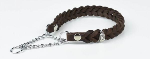 Schlupfhalsband aus Fettleder mit Zugkette, verchromt / Zugstopp-Halsband aus Leder