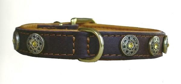 Nietenhalsband / Schmuckhalsband für Hunde mit Swarovski-Kristall, gelb