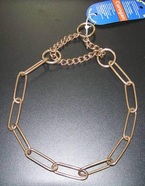 Zugstopp Halsband / Gliederhalsband mit Zugkette, Curogan nickelfrei, 3mm / HS Sprenger