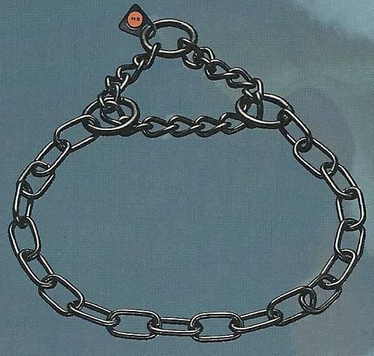 Gliederhalsband mit Zugkette, Typ Medium, Edelstahl schwarz rostfrei, 3mm