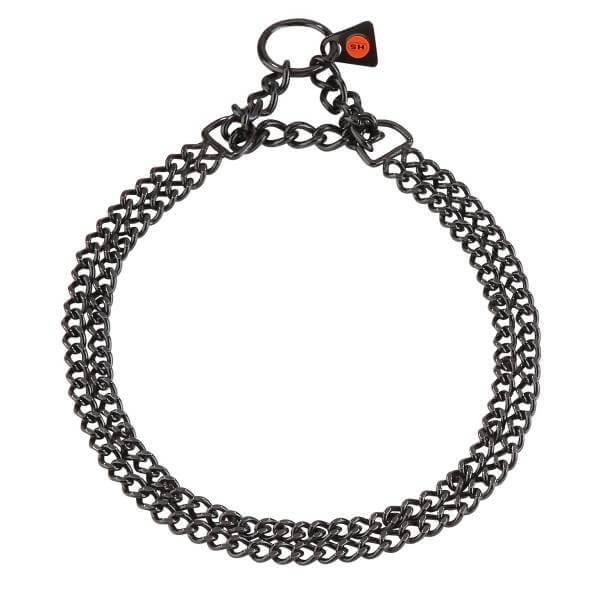 Zugstopp-Halsband / 2-reihiges Kettenhalsband mit Zugkette, Edelstahl schwarz rostfrei